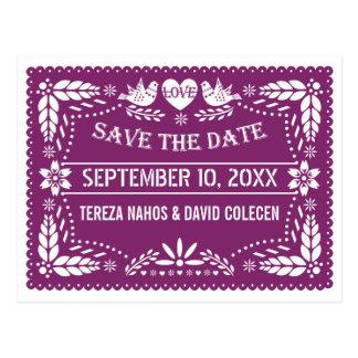 Modern Papel picado purple wedding Save the Date Postcard