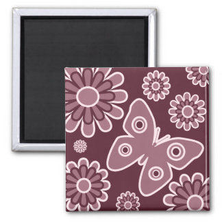 Modern Pink And Burgundy Floral Butterfly Square Magnet