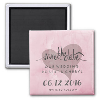 Modern Pink Heart Watercolor Save the Date Magnets