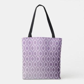 Modern Purple And White Teardrop Pattern Tote Bag