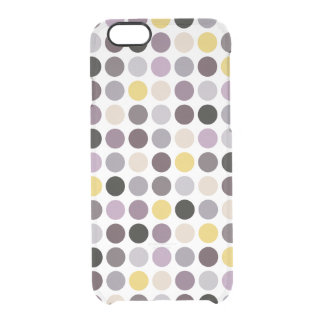 Modern purple yellow polka dots pattern monogram clear iPhone 6/6S case