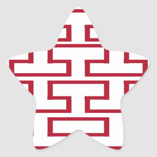 Modern Red and White Bricks Star Sticker