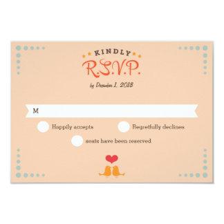 Modern Retro Vinyl Record Orange Sky Blue RSVP 9 Cm X 13 Cm Invitation Card