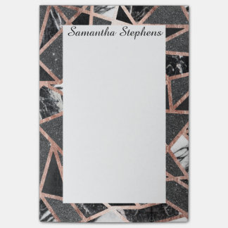 Modern Rose Gold Glitter Marble Geometric Triangle Post-it® Notes