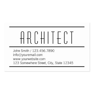 Modern Simple White Architect Business Card