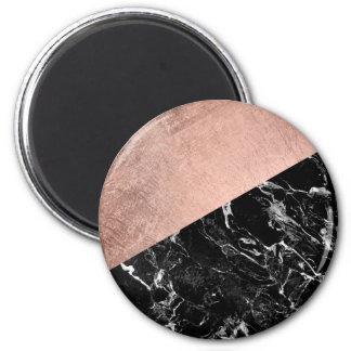 Modern stylish rose gold black marble color block 6 cm round magnet