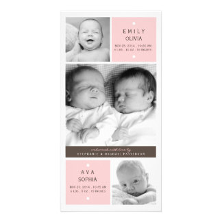Modern Twin Girls Photo Baby Birth Announcement Personalised Photo Card