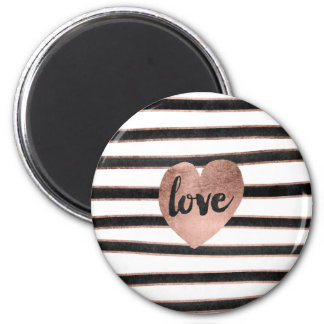 Modern typography rose gold hearts stripes love 6 cm round magnet