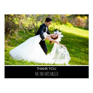Modern Vertical Photo Wedding Thank You Postcard