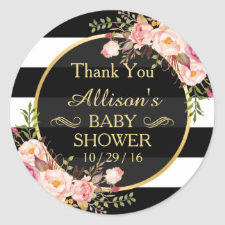 Modern Vintage Floral Decor Baby Shower Thank You Round Sticker
