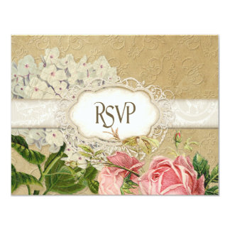 Modern Vintage Lace Tea Stained Hydrangea n Roses 11 Cm X 14 Cm Invitation Card