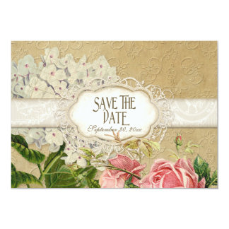 Modern Vintage Lace Tea Stained Hydrangea n Roses 13 Cm X 18 Cm Invitation Card