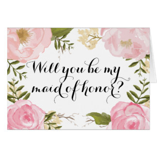 Modern Vintage Pink Floral Maid of Honor Request Greeting Card