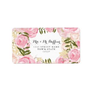 Modern Vintage Pink Floral Wedding Address Label