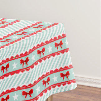 Modern White Mint Green Red Christmas Pattern Tablecloth