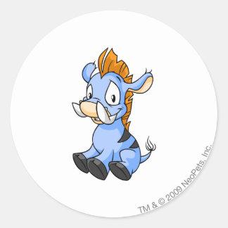 Moehog Blue Round Sticker