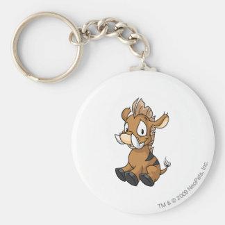 Moehog Brown Basic Round Button Key Ring