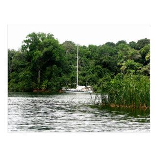 Moira at anchor, Rio Chagres, Panama Postcard