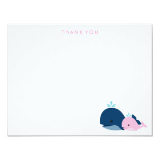 Mom and Baby Whale Thank You Notes {pink} 11 Cm X 14 Cm Invitation Card