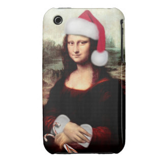 Mona Lisa's Christmas Santa Hat iPhone 3 Case-Mate Cases