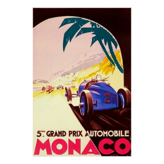 Monaco ~ Grand Prix ~Vintage Travel Canvas Poster