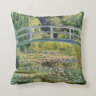 Monet Japanese Bridge with Water Lilies Pillow Cushion