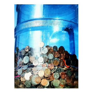 Money Coins Saved in a 5 Gallon Water Jug Postcard