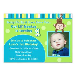 Monkey 1st Birthday Invitation 5x7 Photo Card