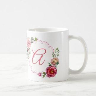 Monogram A Floral White Mug