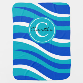 Monogram Abstract Tiger Animal Print | blue aqua Baby Blanket