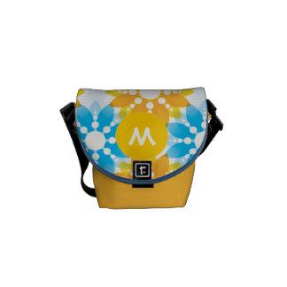 Monogram Aqua Yellow Modern Floral Pattern Commuter Bags