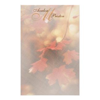 Monogram Autumn Fall Leaf Wedding Stationery