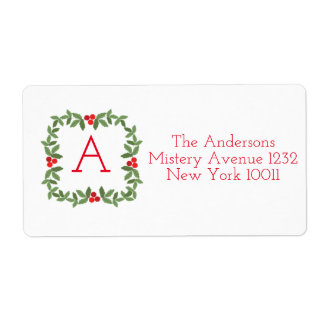 Monogram Chirstmas Wreath label Shipping Label