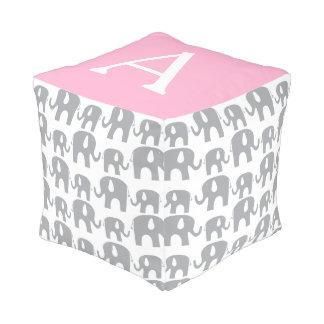 Monogram Elephant Gray Pink Pattern Cube Pouffe