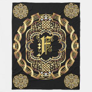 Monogram F CUSTOMIZE To Change Background Color Fleece Blanket