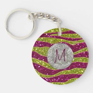 Monogram Glitters Yellow Pink Zebra Stripes Double-Sided Round Acrylic Key Ring