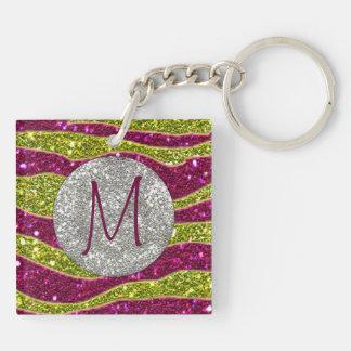 Monogram Glitters Yellow Pink Zebra Stripes Double-Sided Square Acrylic Key Ring