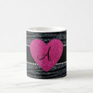 Monogram Gray glitter zebra stripes pink heart Basic White Mug