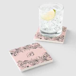 Monogram Initial Floral Flourish Drink Coasters Stone Coaster