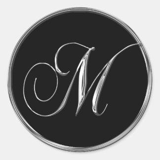 Monogram Letter M Sliver On Black Wedding Seal Round Sticker