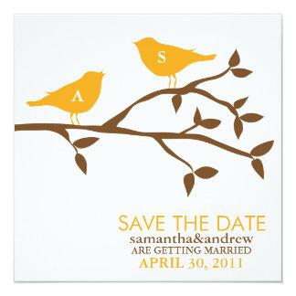 Monogram Love Birds Wedding Save the Date 13 Cm X 13 Cm Square Invitation Card