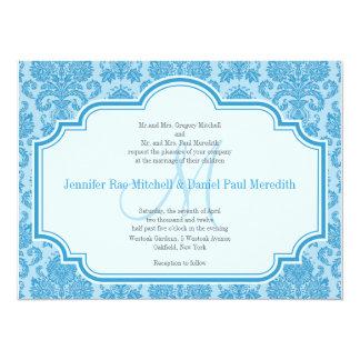 Monogram M Blue Damask Wedding Invitations