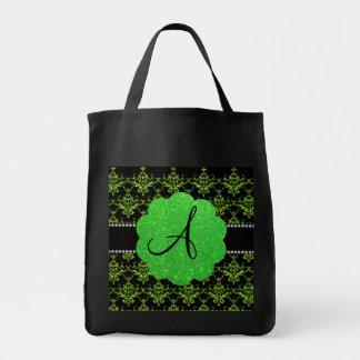 Monogram neon green glitter damask grocery tote bag