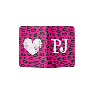 Monogram passport holder with pink leopard print
