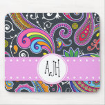 Monogram - Persian Paisley - Green Pink Blue Mouse Pad