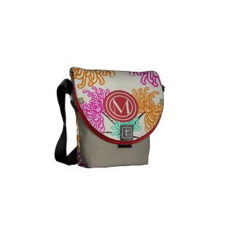 Monogram Pink Red Orange Modern Floral Pattern Messenger Bags