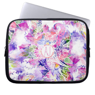 Monogram purple blue watercolor abstract floral laptop computer sleeves