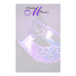 Monogram Purple Masquerade Wedding Stationery