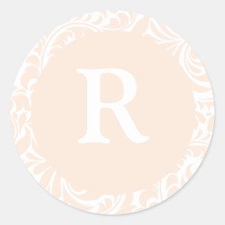 Monogram R Ivory Color Stickers For Wedding Monogr