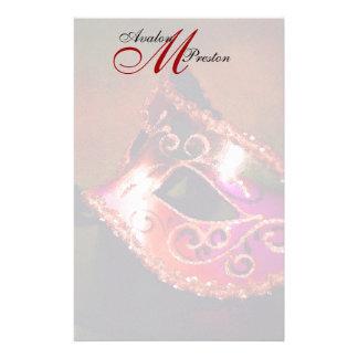 Monogram Red Masquerade Wedding Stationery